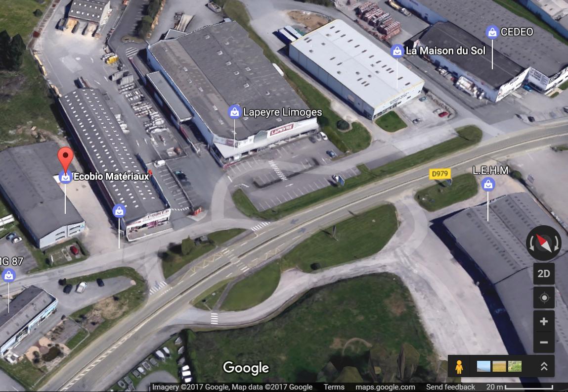 Magasin plancher chauffant Limoges EcOBio Matériaux vue aérienne