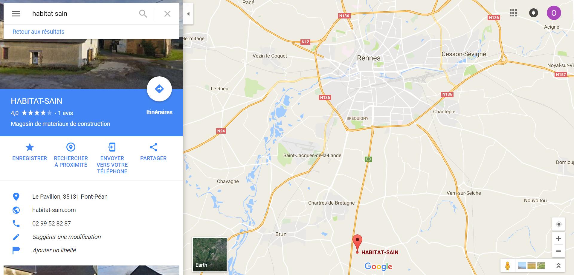 Localisation du magasin Habitat Sain à Rennes