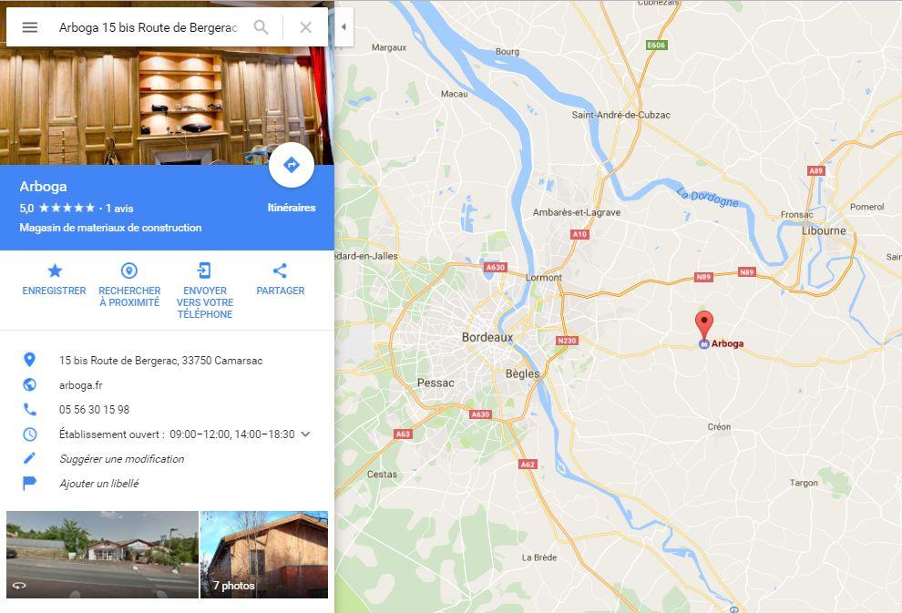 Position du magasin Arboga à côté de Bordeaux