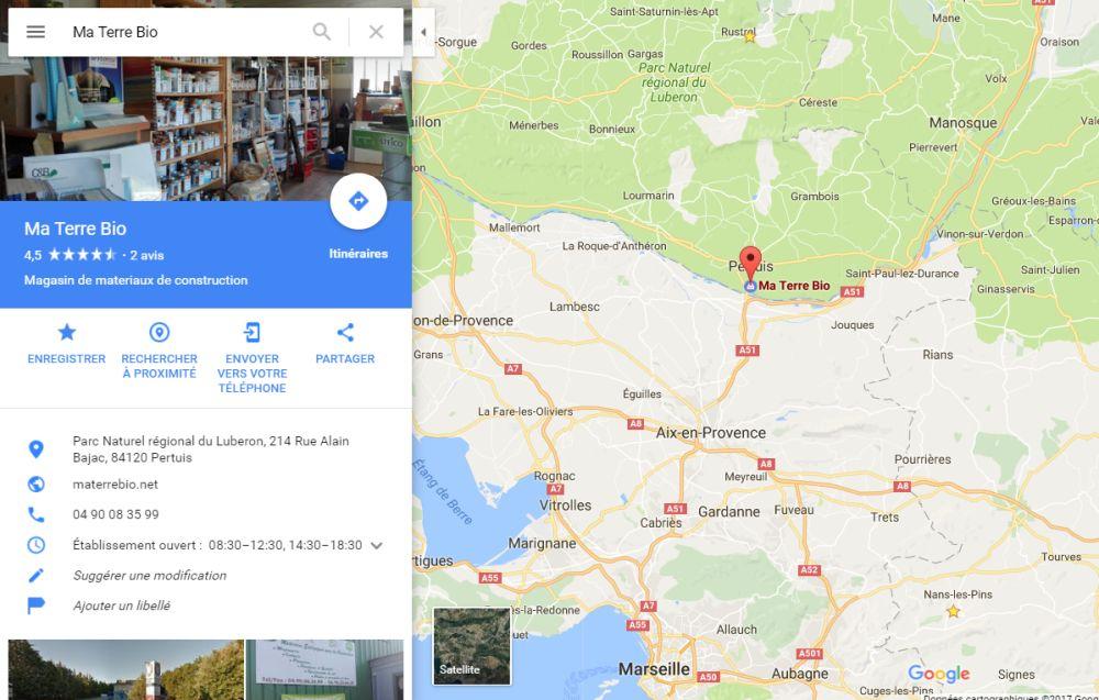 Position du magasin Ma Terre Bio à côté de Aix-en-Provence