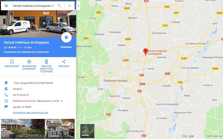 Position du magasin plancher chauffant Kenzaï à Clermont-Ferrand Nord