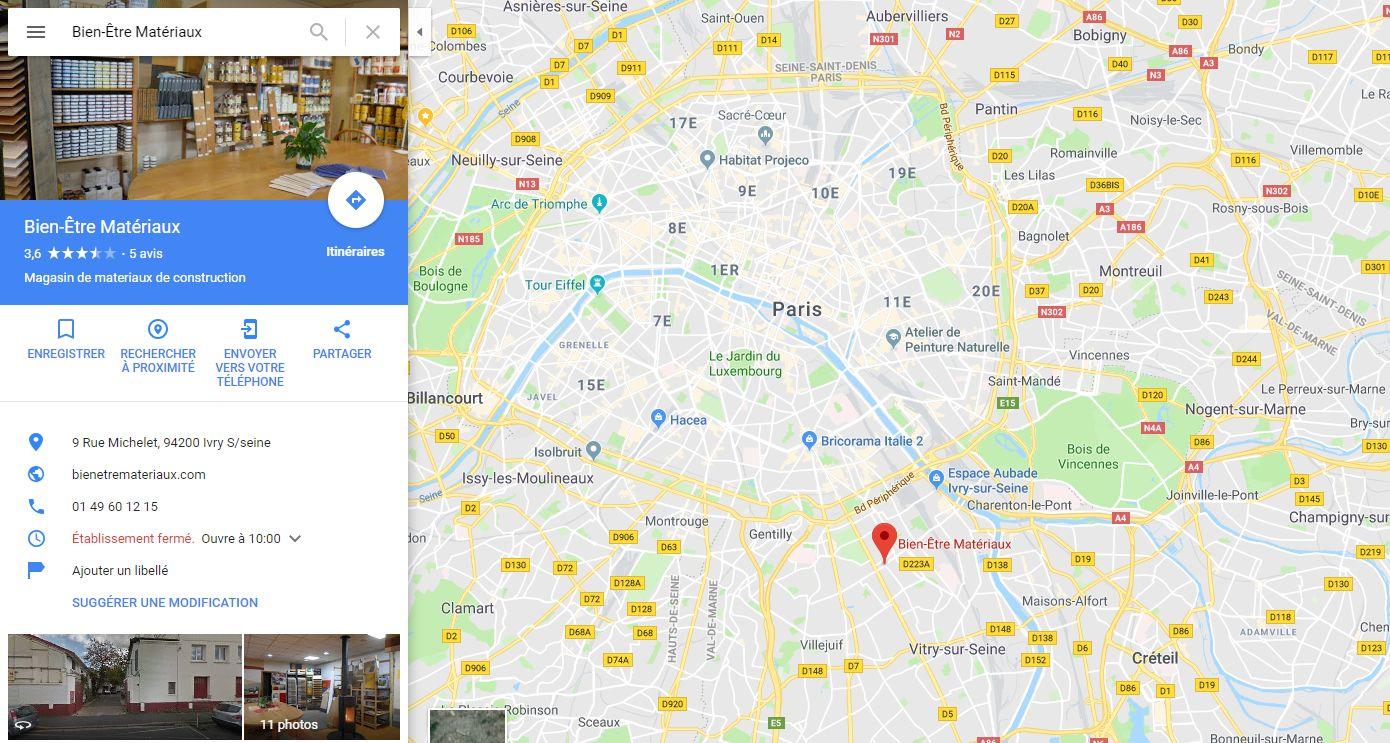 Position du Magasin plancher chauffant Bien-Etre Matériaux à côté de Paris