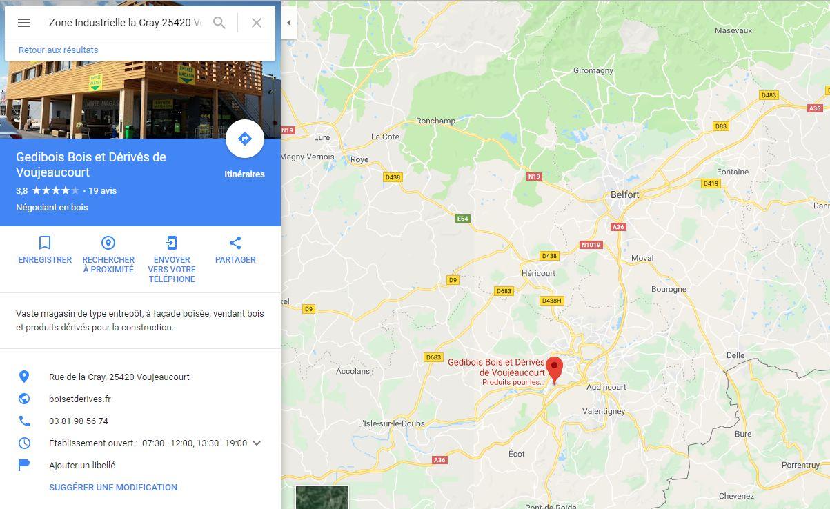 Position du magasin plancher chauffant Bois et Dérivés à côté de Belfort