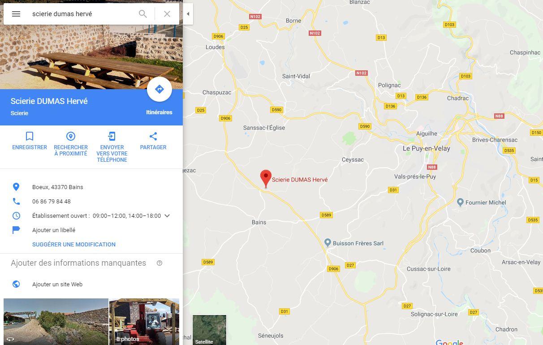Position du magasin plancher chauffant Scierie Hervé Dumas à côté du Puy-en-Velay