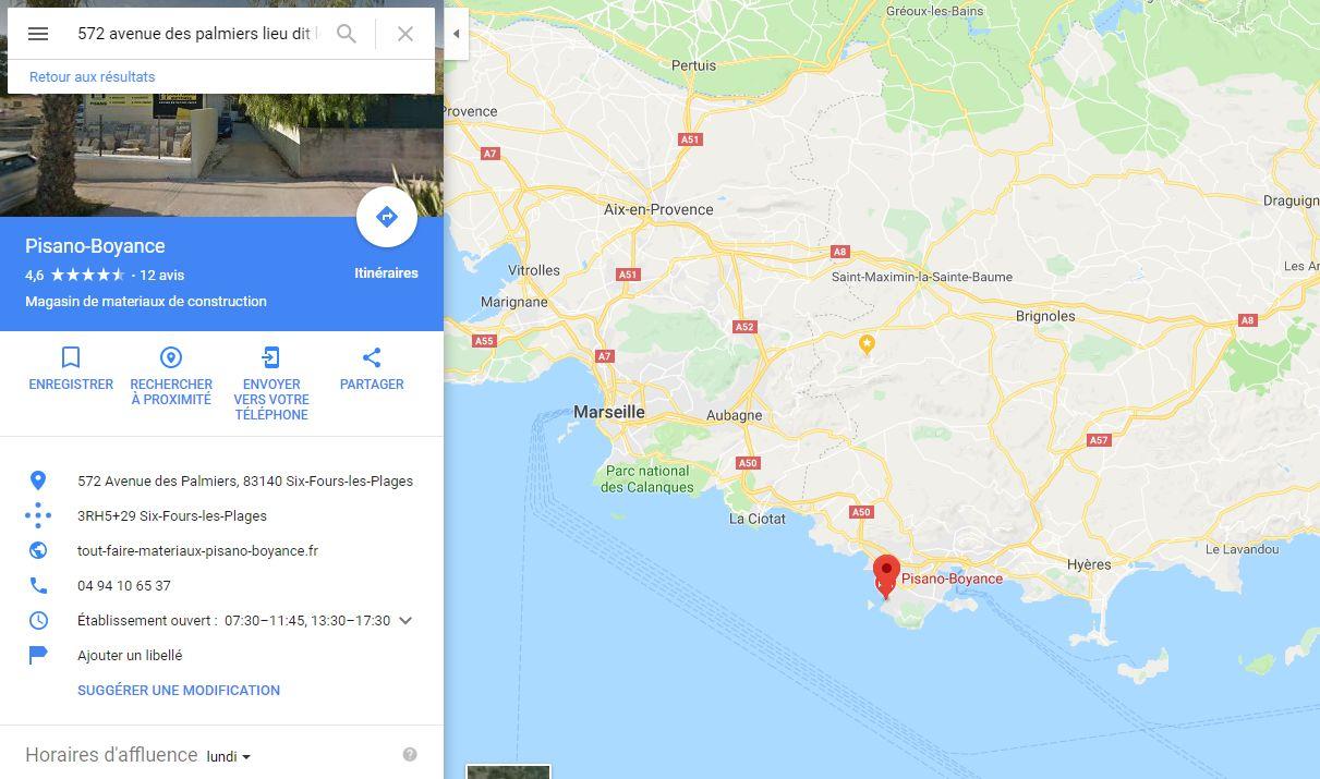 Position du magasin plancher chauffant Tout Faire Matériaux à côté de Marseille