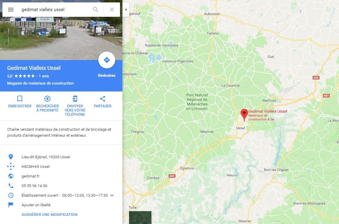 Position du magasin plancher chauffant Gédimat Vialleix à côté de Brive-la-Gaillarde