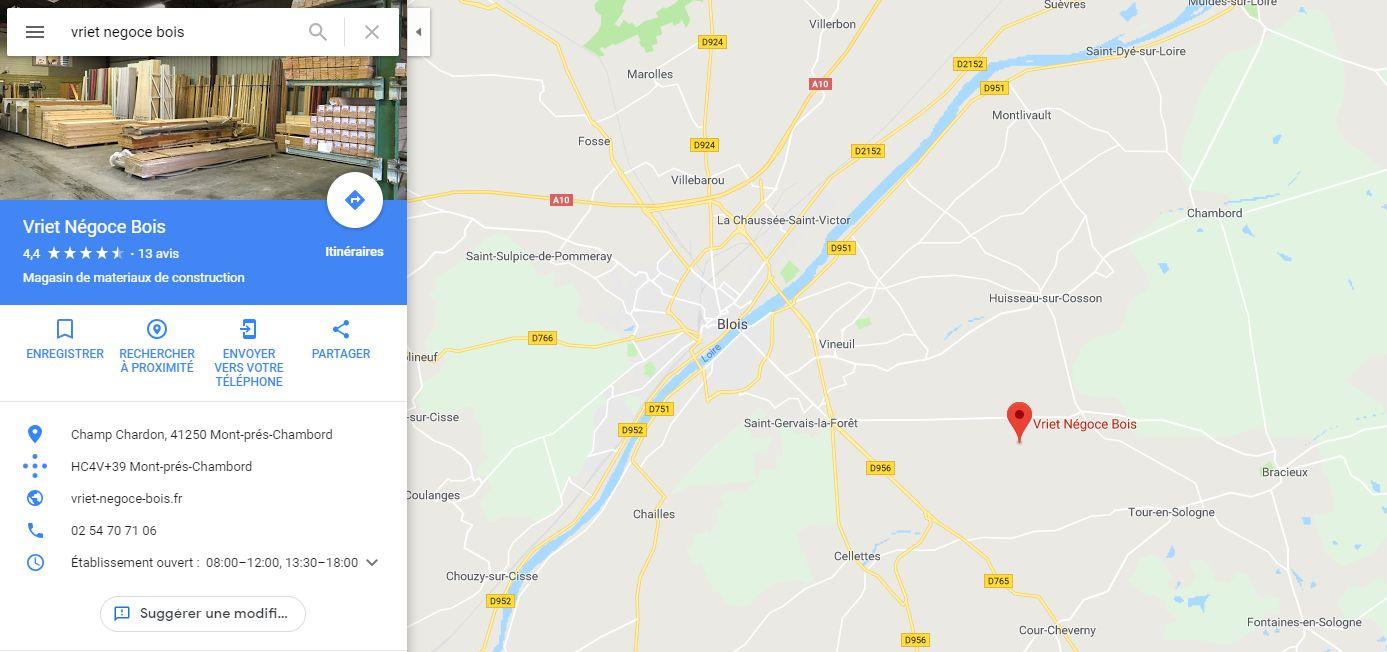 Position du magasin plancher chauffant Scierie Vriet à Blois