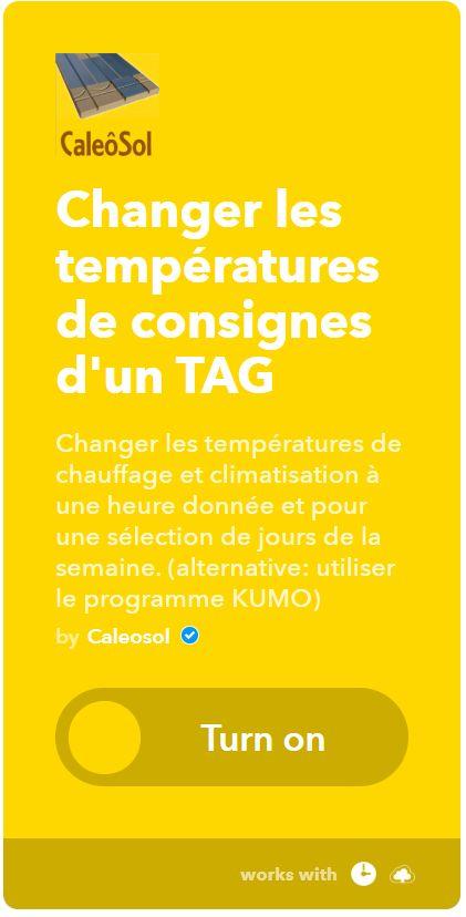 Applet IFTTT changement température de consigne thermostat TAG-01