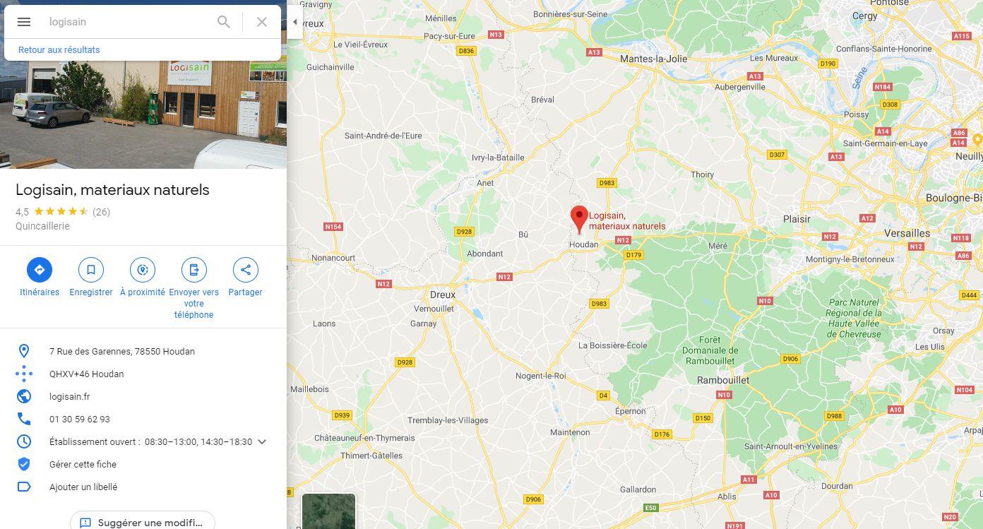 Position du magasin plancher chauffant Logisain île de France à Houdan