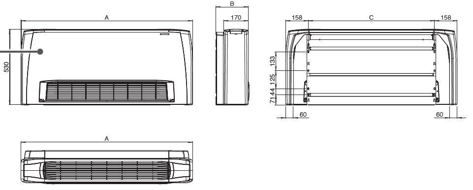 Dimensions du radiateur réversible