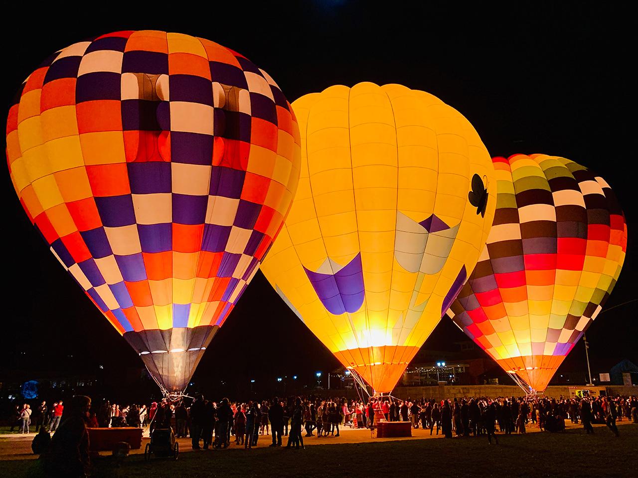 napa lighted arts festival hot air balloon glow, night glow
