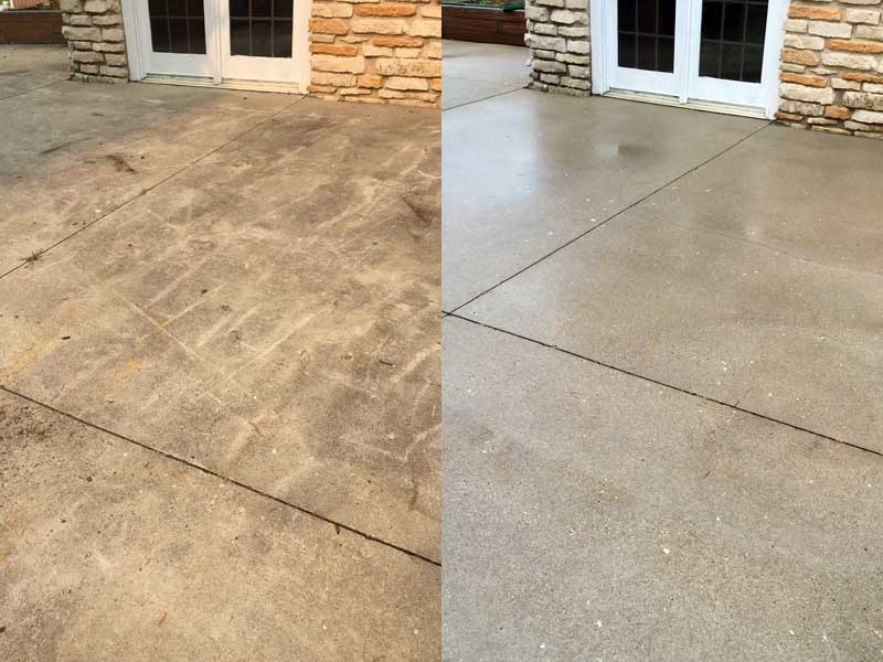 Patio concrete cleaning