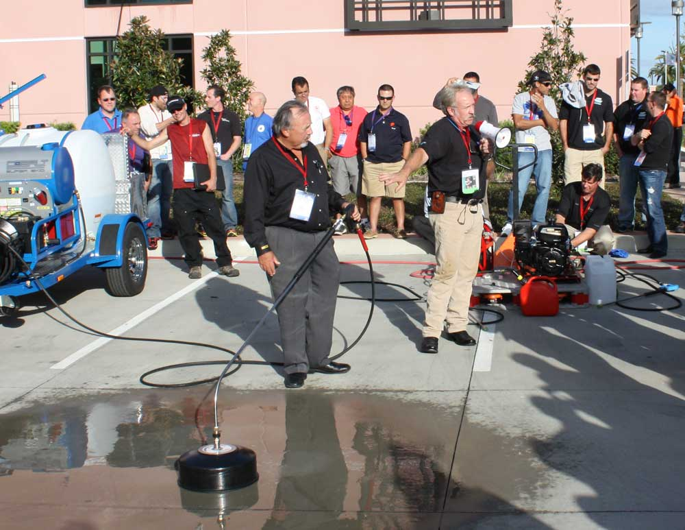 Badgerland receiving training for flatwork pressure washing