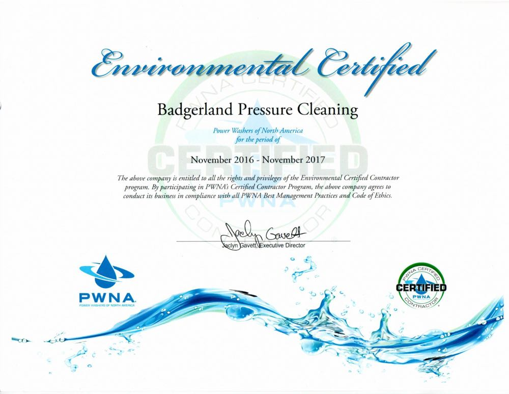 Certified for environmental pressure washing
