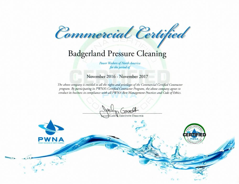Certified for commercial pressure washing