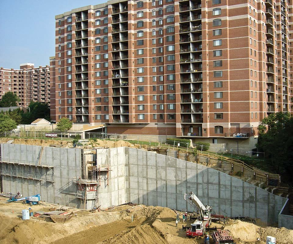 Nicholson constructed a 50ft high cantilevered retaining wall with barrettes
