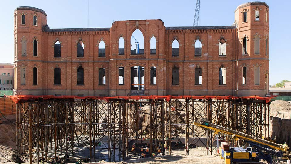 Nicholson constructed an elaborate underpinning system for the Provo City Center Temple