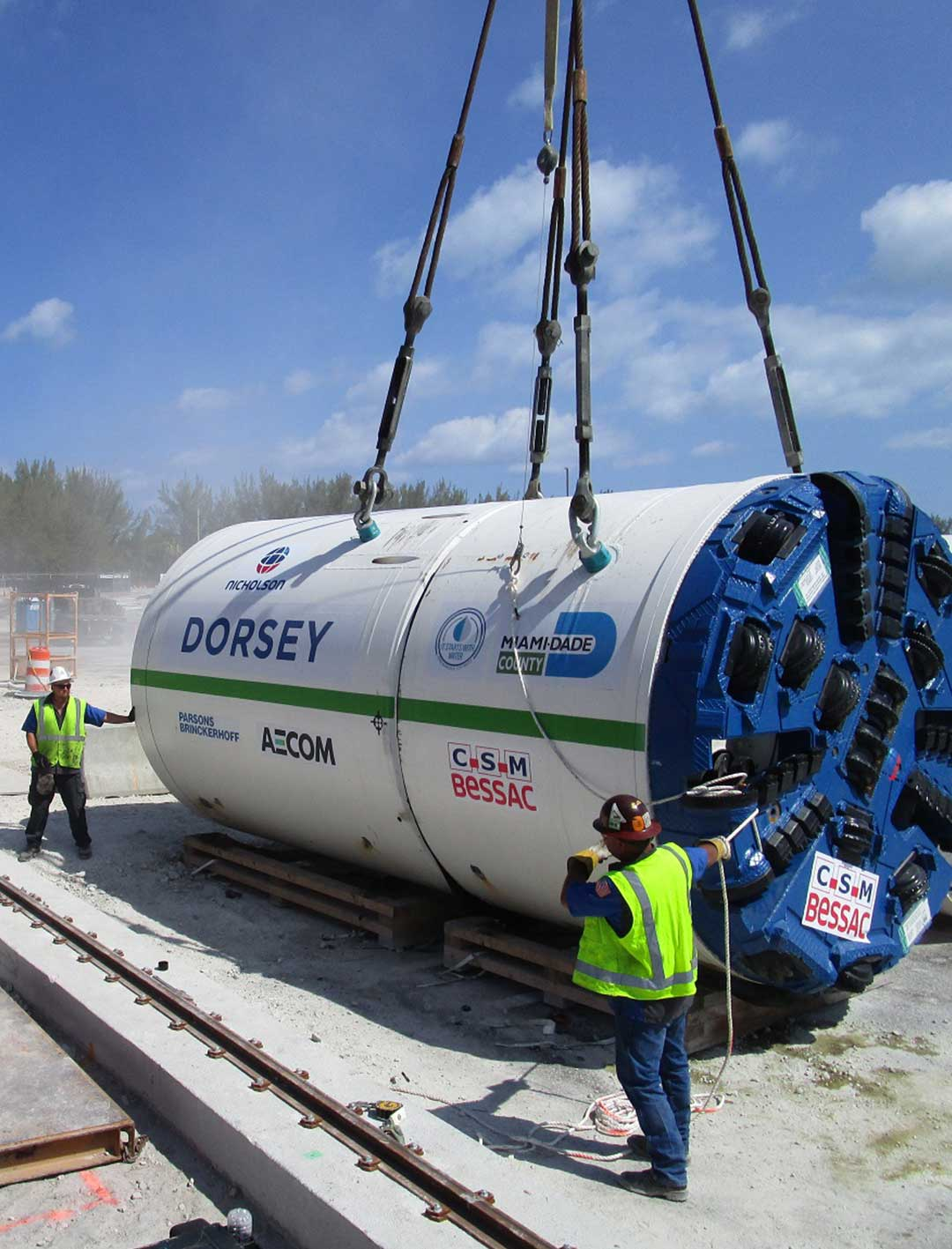 Lowering of Dorsey into the launch shaft at Virginia Key Central Wastewater Treatment Plant