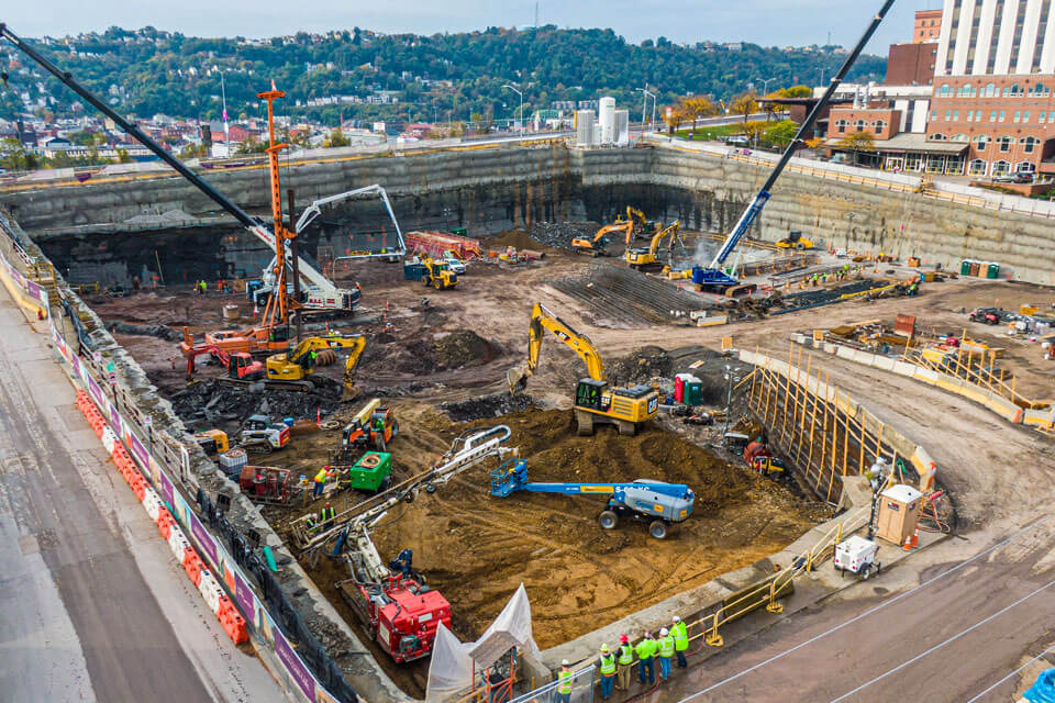 Nicholson installed temporary support of excavation for a massive new Vision Rehabilitation Institute's basement foundations and underground parking.