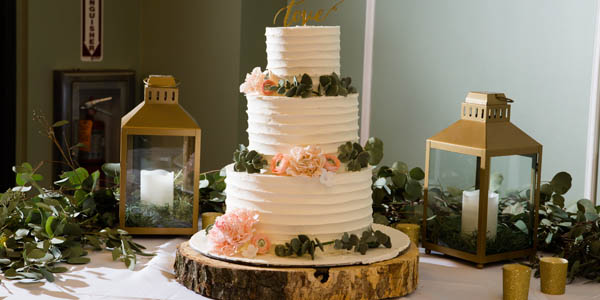 Buttercream wedding cake with sugar flowers