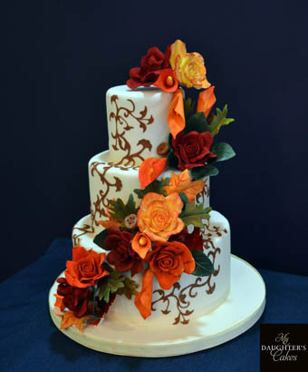 Unique Fall Wedding Cake by My Daughter's Cakes