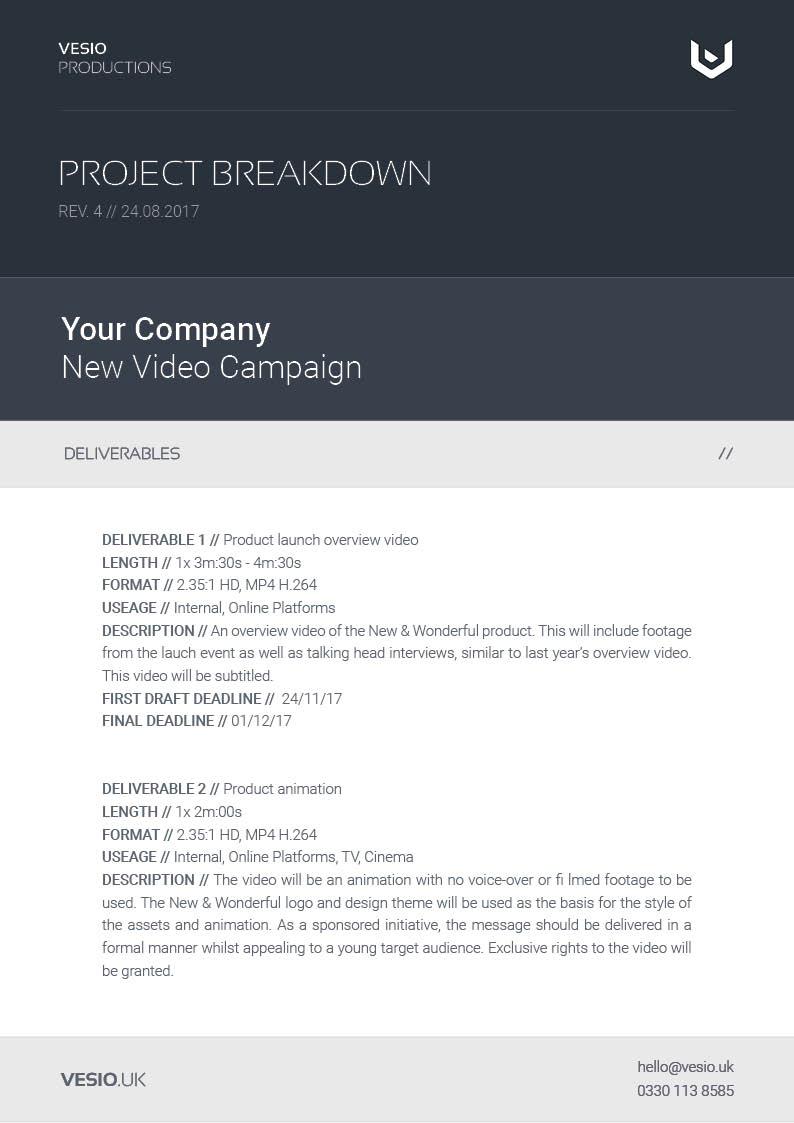 project breakdown document