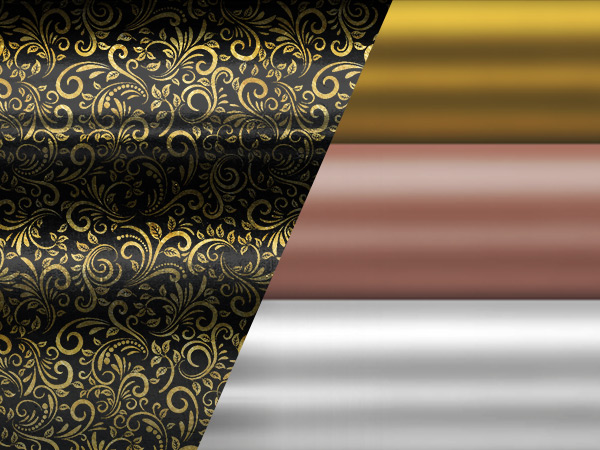 Gold, Rosé, Silber, Chrom, Kupfer, Leder und Art Deco für luxuriöses Finish.