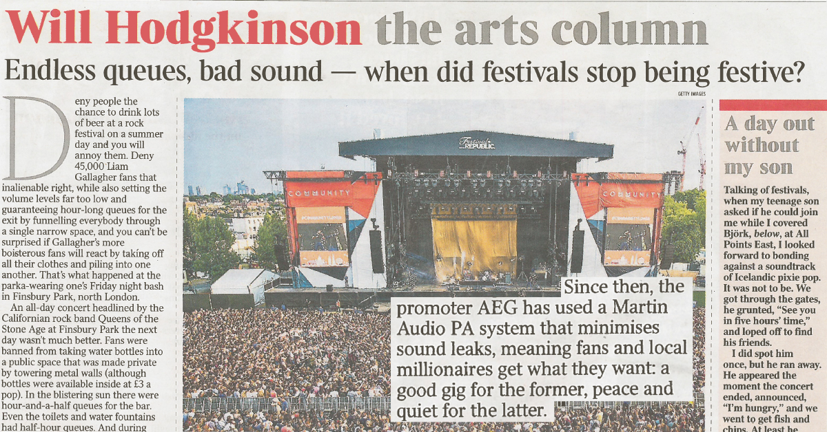 Martin Audio - Winning at Festivals