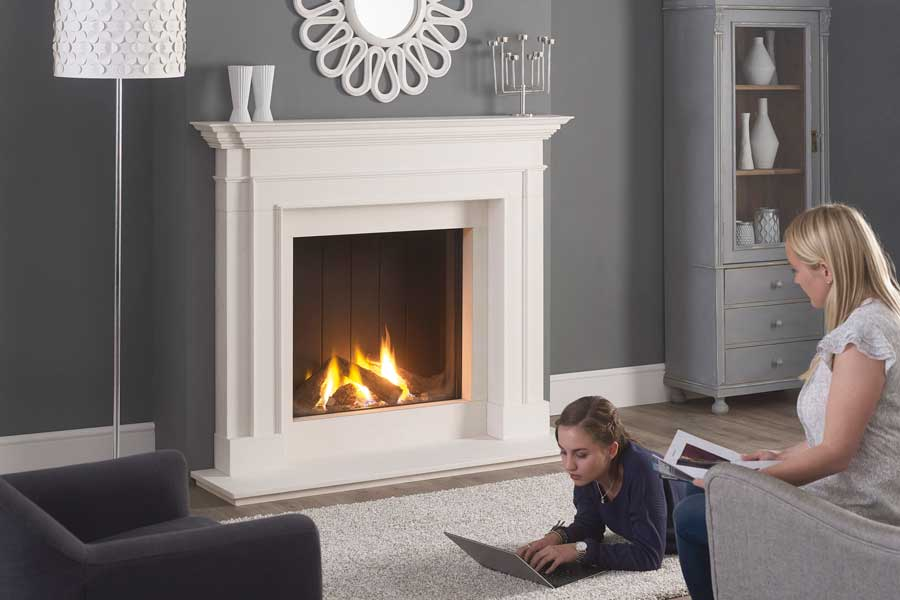 Clarence Limestone Mantel with Trimline 73h Gas Fire Sussex Fireplace Gallery