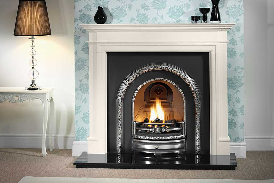 Washington Limestone Mantel with Arched Insert Sussex Fireplace Gallery
