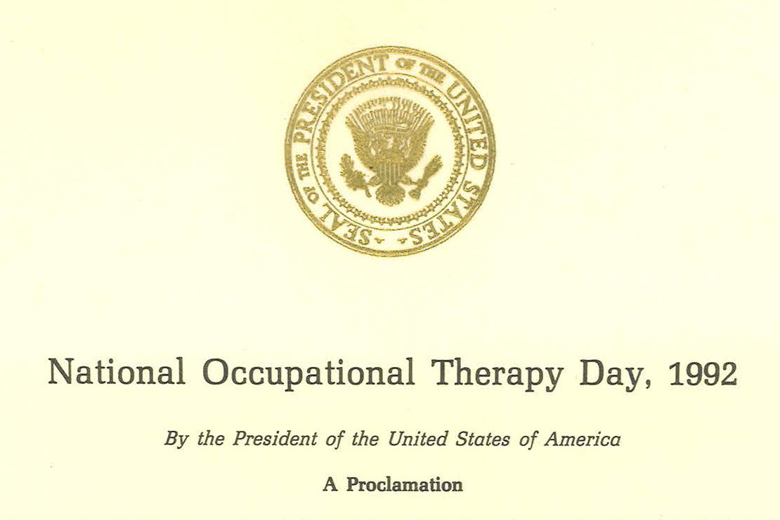 President Bush Signs OT Day Proclamation in 1992