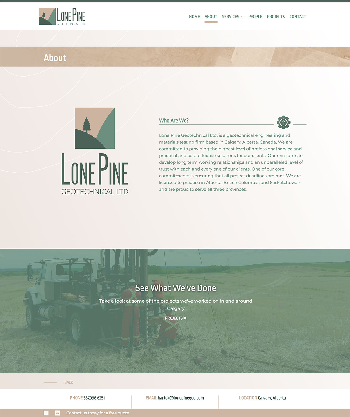 Lone Pine Geotechnical Ltd  - Graphic and web design