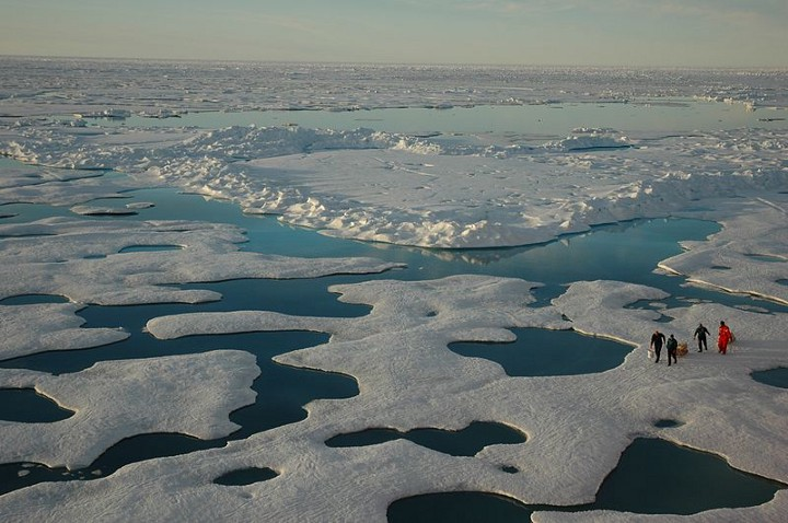 Arctic melt ponds. The Arctic is currently seeing record lows in ice volume for this time of year; many experts fear that 2017 could see a crash in Arctic ice extent and volume by mid-September, with unknown destabilizing impacts on the world's weather. Photo courtesy of NOAA.