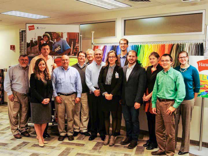 Gaude pictured with the cross-functional team consisting of sustainability graduate students, Wake Forest faculty and Hanesbrands team members.