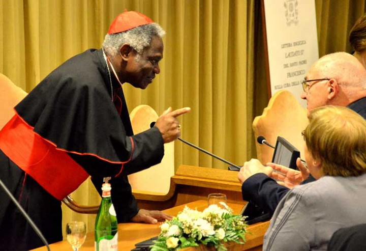 Ghana Cardinal Peter Turkson, the church's guiding force behind the writing of Laudato Si, On Care for Our Common Home. This picture was taken on the day the document was released. Photo by Justin Catanoso