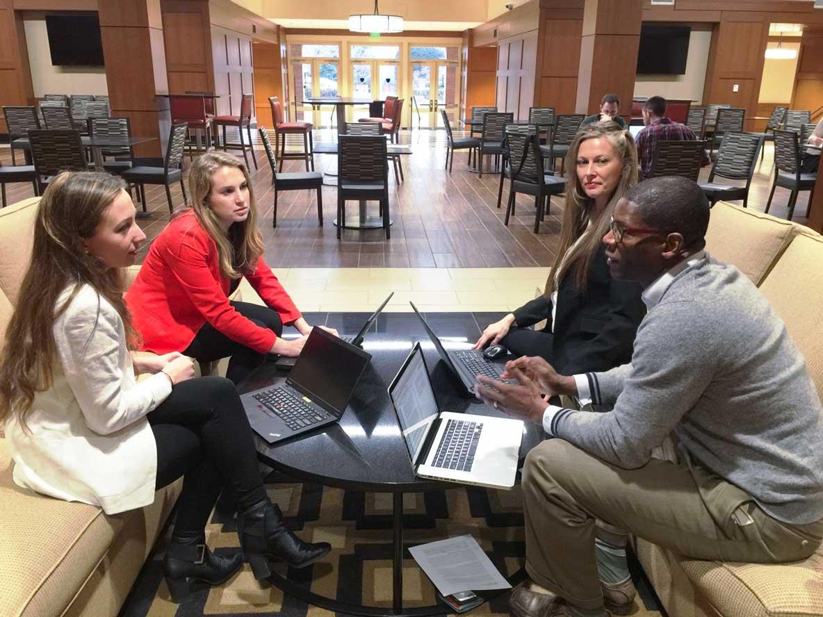 MA in Sustainability Graduate Students Aidan Ganzert, Hannah Slodounik, Deborah Roscoe, and James Lackland