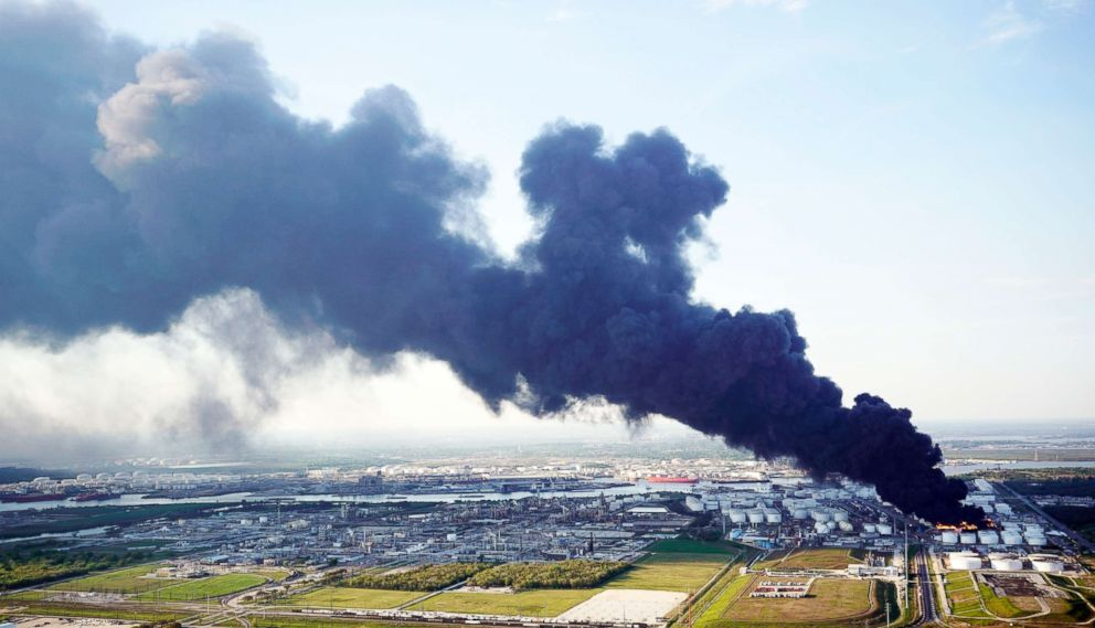 A plume of smoke rises from a petrochemical fire at the Intercontinental Terminals Company, March 18, 2019, in Deer Park, Texas.