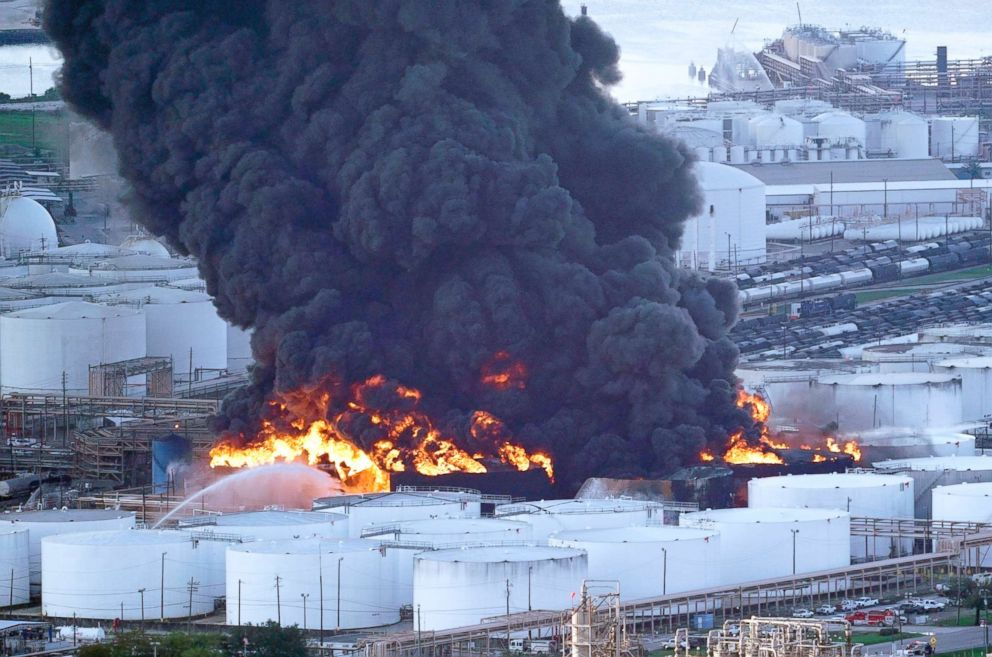 Firefighters battle a petrochemical fire at the Intercontinental Terminals Company, March 18, 2019, in Deer Park, Texas.