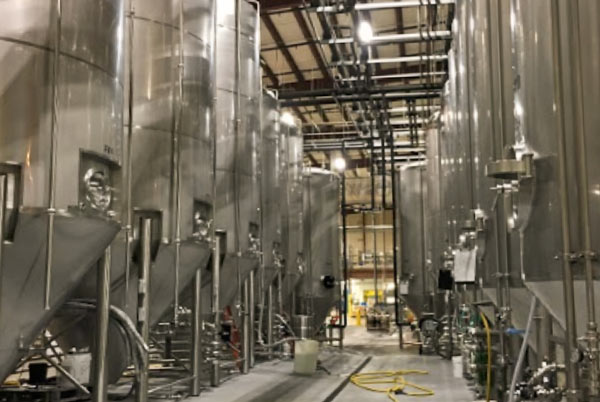 The fermentation tanks holding Foothills' latest batch of craft beer.