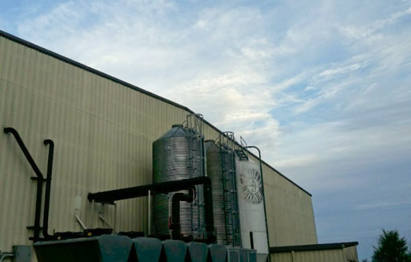 The grain silos outside Foothills Brewing, holding all of the grain ready to go into the brewing process.