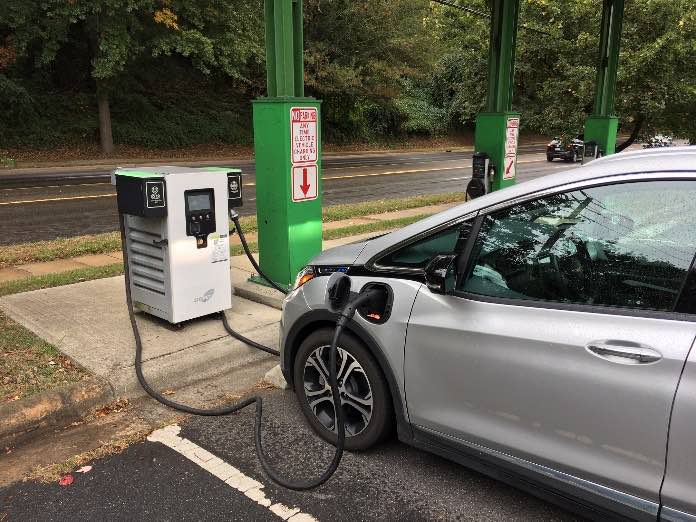 Greenlots DC fast charging station at the Aloft Hotel parking lot in downtown Asheville, NC.