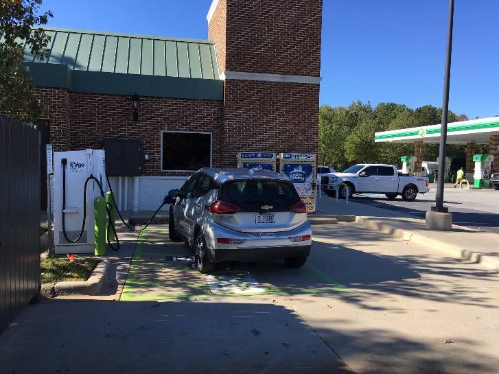 My final charging stop at an EVgo station in Mt. Holly, NC.