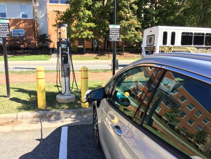 Recharging at the Level 2 site next to my office building at Wake Forest University.