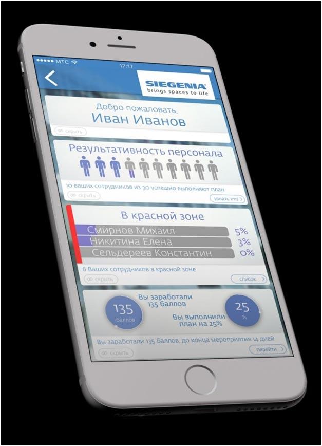 SIEGENIA: мобильное приложение для мотивации сотрудников