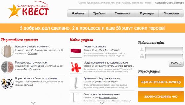 Фрагмент интерфейса приложения «Благотворительный квест»