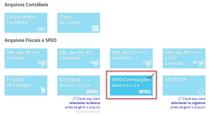 SPED Contribuições - Blocos 0, A, C, D, 9