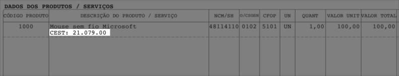E o DANFE também exibe o CEST automaticamente em cada item da nota fiscal.