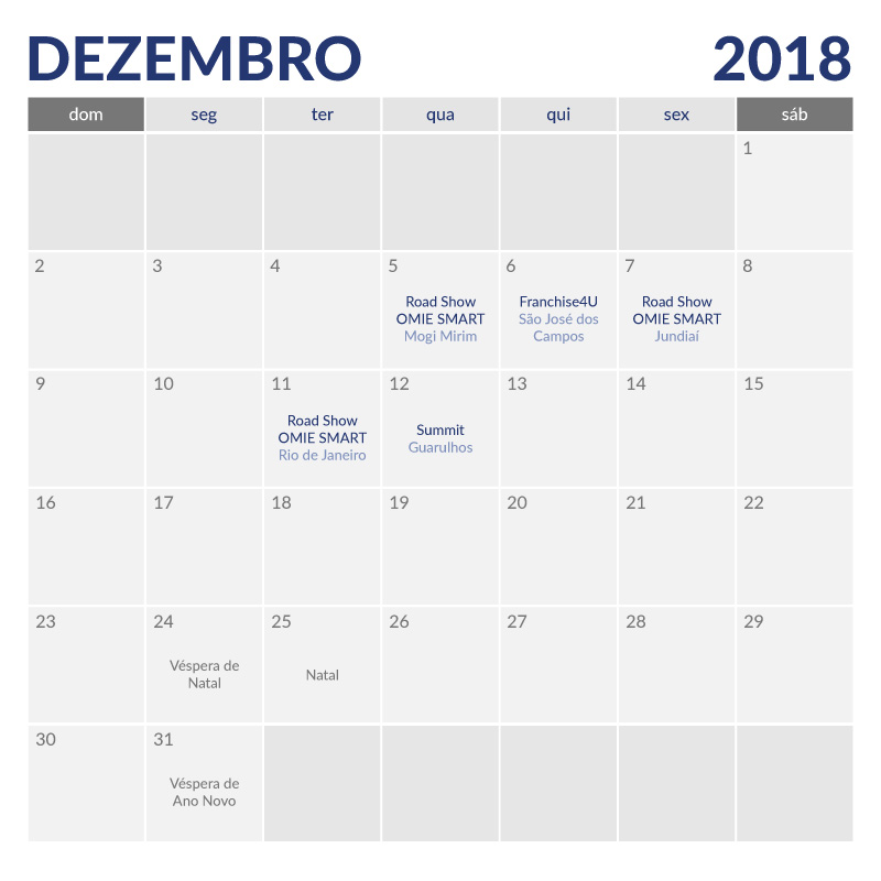 Calendário de Eventos Omie Dezembro de 2018