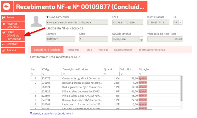 visualizando danfe nota fiscal eletronica erp online