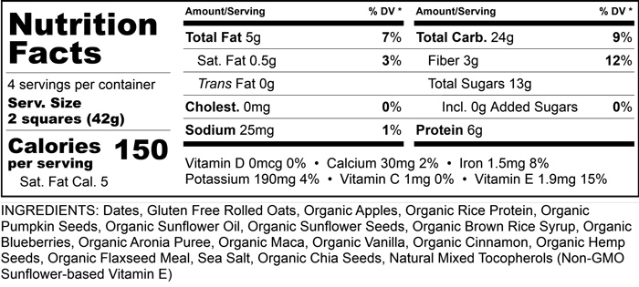 Nut-Free Apple Blueberry - Nutritional Facts